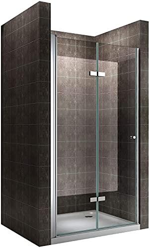 MOG Mampara de ducha puerta plegable rango de ajuste de 100-104cm altura:...