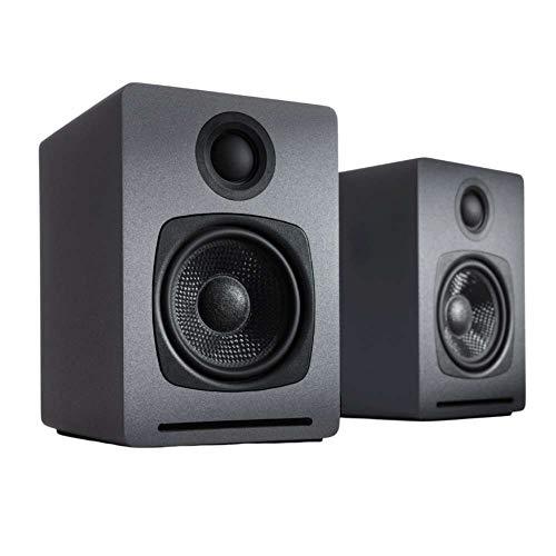 Audioengine A1 Lautsprecher-System | aptX Bluetooth-Stereo-Lautsprecher | Regallautsprecher Paar, Schreibtisch Lautsprecher | Kabel & drahtlos | AUX für PC, Plattenspieler, TV, Subwoofer (2 Stk, Grau)