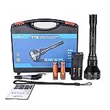TrustFire T70 Kit-2 - Linterna led de 2300 lm con led CREE XHP-35 HI y alcance de 1000 m, 2 pilas 18650 de 3400 mAh y 1 cargador de pilas USB TR-016