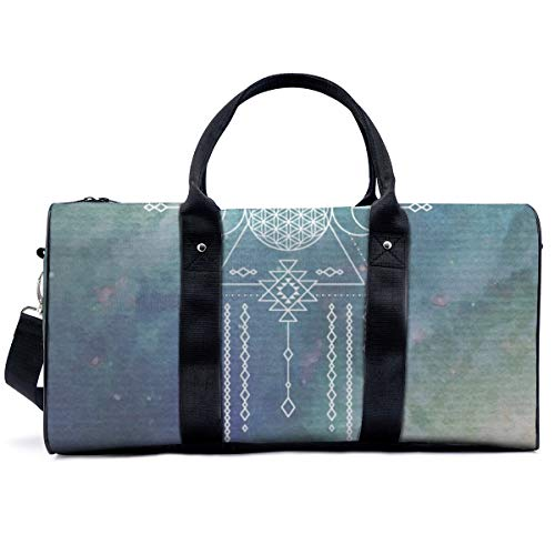 Bolsa deportiva para gimnasio, diseño de flores de la vida, color turquesa, azul, mágico, tribal, galaxia, bolsa de yoga, bolsa de hombro, bolsa de viaje, bolsa de viaje para hombres y mujeres