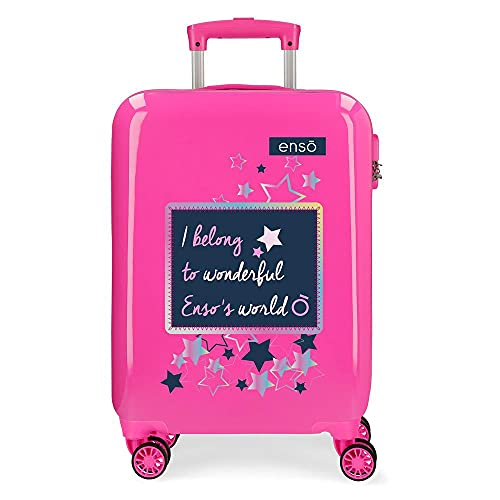 Enso Make a Wish Maleta de Cabina Rosa 38x55x20 cms Rígida ABS Cierre de combinación Lateral 34 2 kgs 4 Ruedas Dobles Equipaje de Mano
