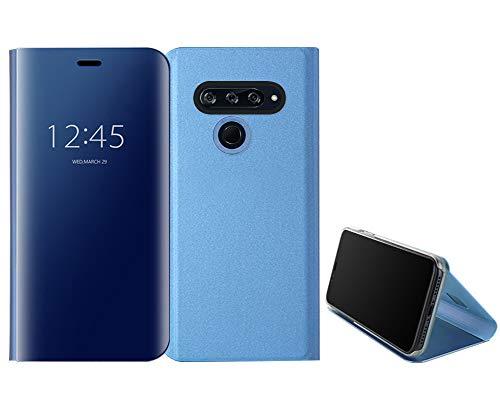 Coque LG V40 ThinQ Etui LG V40 ThinQ Housse,Translucide Clear View Etui à Rabat Flip Miroir Housse Étui Coque de Protection en PU Cuir Magnétique Support Portefeuille Carte Slots Flip Case Etui,Bleu