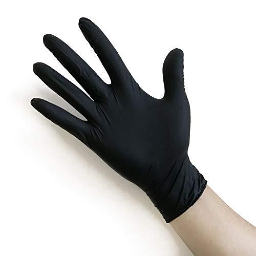 TOMYEER - Guantes desechables de plástico de polietileno para uso alimentario, desechables, para manipular alimentos, guantes de trabajo desechables, de polietileno, color negro, talla S, 100 unidades