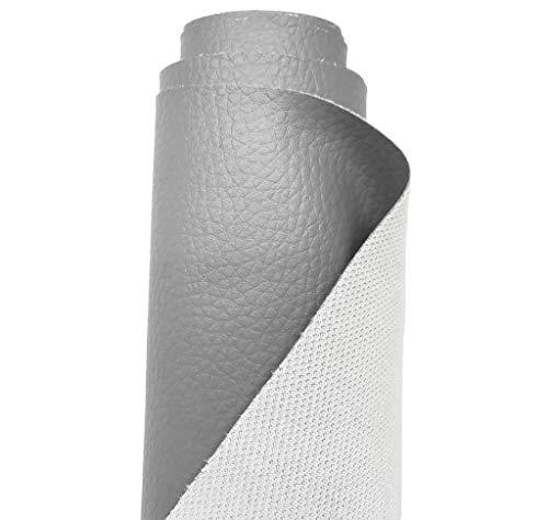 A-Express Tela de grano de cuero de imitación material texturizado por tapizar, Polipiel, Manualidades, vinilo, Cojines o forrar Objetos - Gris 1 Metro 100cm x 140cm