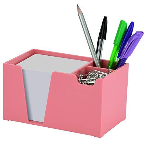 Acrimet Desktop Organizer Pencil Paper Clip Caddy Holder (Plastic) (with Paper) (Solid Pink Color)