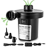 Lihebcen Electric Air Pump Quick-Fill Portable Inflator Deflator Air Mattress Pump for for Outdoor Camping, Inflatable Cushions, Air Mattress Beds, Boats, Swimming Ring 110V AC/12V DC 50W