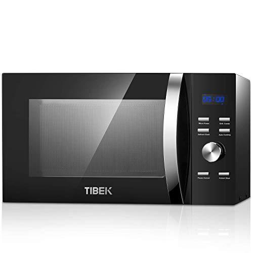 TIBEK Forno a Microonde con Grill, 23 Litri, 800 W/Grill 1280 W, Quick Start 30 Secondi, Sicurezza Bambini, 10 Livelli di Potenza, Giradischi in vetro 28 CM (Arrivare Entro 5 Giorni)