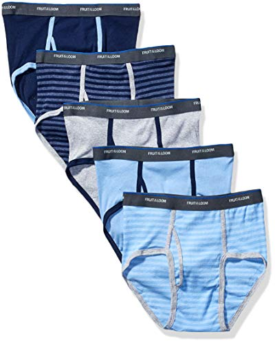 FRUIT OF THE LOOM Boys_ Fashion Brief (Pack of 5), Stripes and Solids, Medium