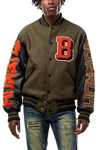 Smoke Rise Unisex All Star Varsity Jacket, Utility Outerwear, Fur Jacket and MA1 Jacket (DEEP Olive, M)