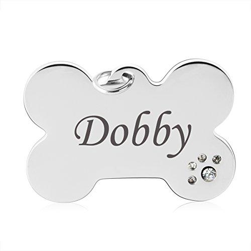 7Morning Personalisiert Haustier Knochen ID Tag Hund Tag Hundemarke Anhänger mit Zirkonia aus Edelstahl