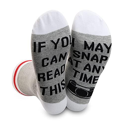 1 Paar Fotografen Geschenk Kamera Socken If You Can Read This I Can Snap At Any Time Socken Fotografie Liebhaber Geschenk, Socken können jederzeit einrasten, Einheitsgröße
