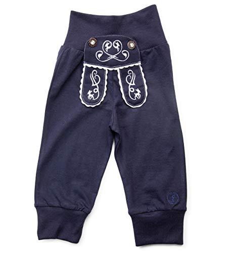 Schöneberger Trachten Couture Baby Stoffhose im Lederhosen Design – Babyhose mit elastischem Bund – Mädchen Pumphose Kinderhose REH (74/80, Dunkelblau)