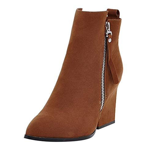 NMERWT Damen Stiefeletten Chelsea Boots mit Blockabsatz Profilsohle Flandell Damenmode wies Starke Ferse Schuhe wasserdicht Plattform High Heel Stiefel