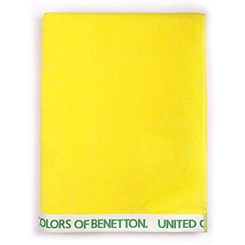 UNITED COLORS OF BENETTON. Toalla de Playa 90x160cm 380gsm Velour 100% algodón Amarillo Casa Benetton, 90x160