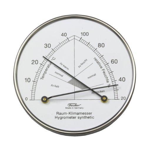 Hygrometer synthetic mit Thermometer / Edelstahlgehäuse Ø 103 mm