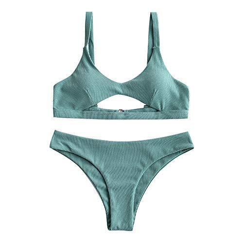 ZAFUL Damen Cut Out Low Waisted Bikini Set Beachwear Blau M