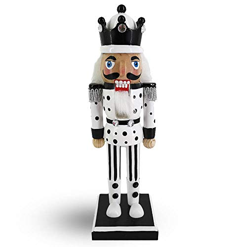 Christmas Holiday Wooden Nutcracker Figure Soldier King with Traditional Black and White Polka Dot and Stripes Uniform Jacket and White Fur Hat, 10 Inch