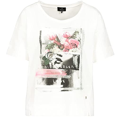 MONARI Damen T-Shirt mit Blumen-Collage Off-White/rosa - 42