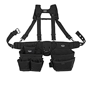 Bucket Boss Ballistic 2 Bag Tool Belt with Suspenders in Black, 57100