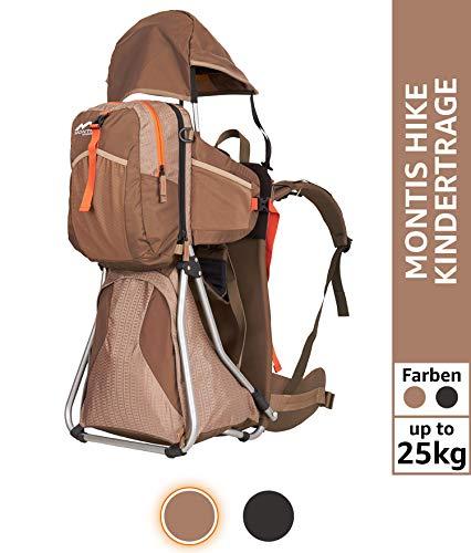 Montis Hike Kraxe Wandertrage bis 25kg Gewicht mit vielen Extras & Erweiterungsmöglichkeiten - inkl. Stirnkissen & Zusatzrucksack - Premium Kindertrage geeignet für beide Elternteile, Mocca