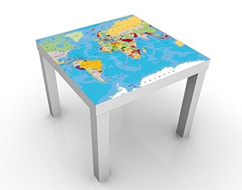 Apalis Design Tisch The World's Countries 55x55x45cm Beistelltisch Couchtisch, Tischfarbe:Weiss;Größe:55 x 55 x 45cm