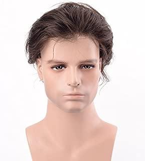 Lordhair Men's Toupee V-looped Hair Replacement for Men Dark Brown Real Human Hair Piece Men Color 2#