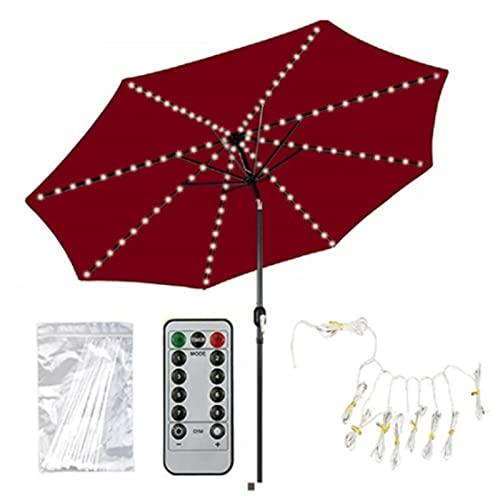 GFQTTY Luces De Sombrilla De Patio USB, Luces Led Estrelladas Luces De Sombrilla Cadena De Luces De Sombrilla Luz De Hadas, Control Remoto para Decoración Al Aire Libre