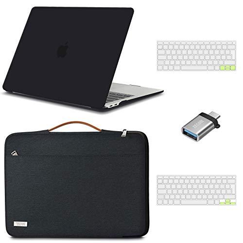 TECOOL Custodia MacBook Air 13 Pollici 2020 2019 2018 (A2337 M1/A2179/A1932),Custodia Plastica Rigida & Custodie morbide & Tastiera Cover & Adattatore USB per Mac Air 13.3 Touch ID - Nero & Nero