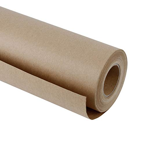 RUSPEPA Brown Kraft Paper Roll - 48 inches x 100 feet - Recyclable Paper Perfect for Wrapping, Craft, Packing, Floor Covering, Dunnage, Parcel, Table Runner