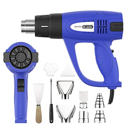 Heat Gun, Dr.meter Hot Air Gun with Adjustable Temperature, Ranged 60-600°C, 10 Accessories, 3 Airflow Speed for DIY, Stripping Paint, Shrinking PVC and Home Improvement