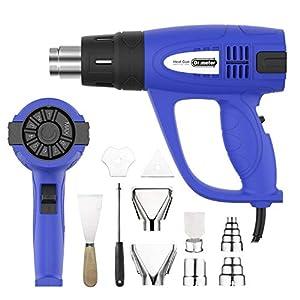 Pistola de calor. Pistola de aire caliente profesional Dr.meter con temperatura ajustable, rango 60-600 ° C, 10 accesorios, 3 velocidades de flujo de aire para bricolaje, pintura, PVC retráctil