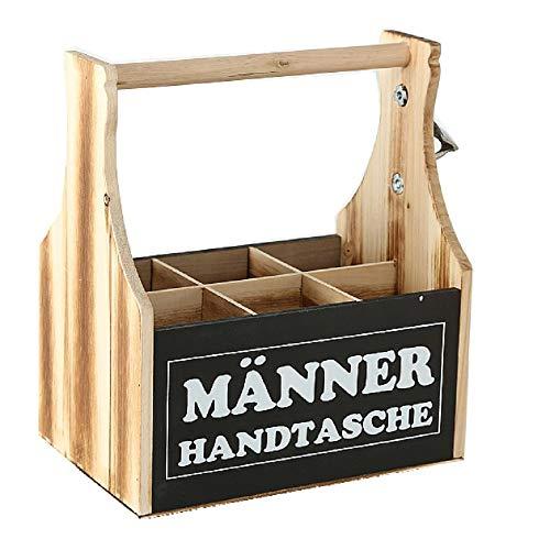 CasaJame Holz Kiste Flaschenhalter Bierflaschenkiste Flaschenbox mit Kapselheber Männer Handtasche 28x17x28cm