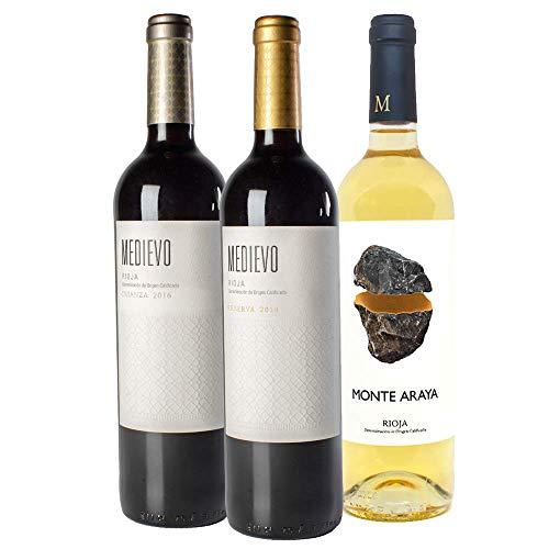Pack 3 Botellas Rioja | Vino tinto Crianza Medievo, Vino tinto reserva Medievo y Vino Blanco Monte Araya. Denominación de Origen Calificada (DOCa): Rioja