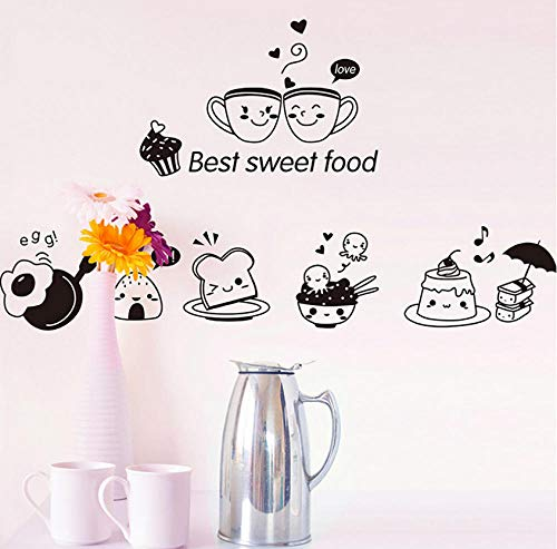 Wangxj Best Sweet Food Kitchen Wall Stickers Lovely Coffee Omelette Rice Ball Cake Wall Sticker DIY Home Wall Oven Art Decal Decoration 20X30Cm