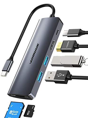 Hub USB C, WIMUUE Adattatore USB C 7 in 1 per MacBook Pro/Air (Thunderbolt 3), con Porta USB-C 4K a HDMI, USB 3.0, Power Delivery da 100W per iPad Pro/Dispositivi Type C