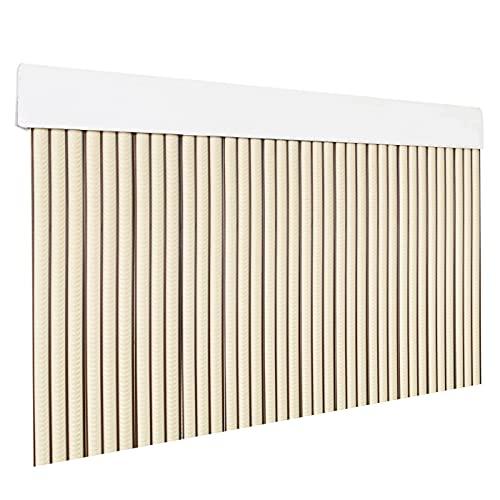 HOME MERCURY – Cortina plana para puerta exterior o interior, material PVC – libre de insectos (210x90CM, Beig+Filo Marron P2)