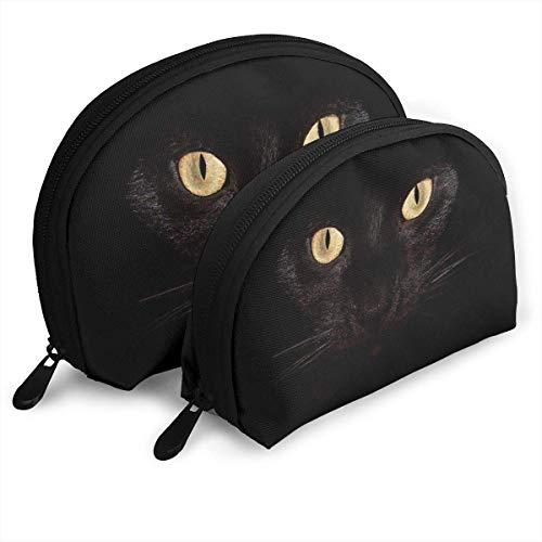 XCNGG Cat in The Dark Night Bolsas portátiles Estuche de embrague Monedero Estuche de viaje cosmético OneBig y OneSmall 2Pcs Papelería Lápiz Bolsa multifunción Cartera para niños Estuche para llaves B