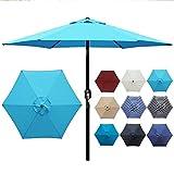 Blissun 7.5 ft Patio Umbrella with Fringe, Yard Umbrella Push Button Tilt Crank (Light Blue)