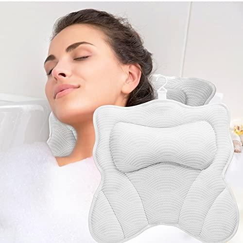Jullfall Almohada para bañera y spa, cojín cervical para bañera, accesorio para el reposacabezas, tecnología 5D AirMesh y 7 ventosas (forma de gato)