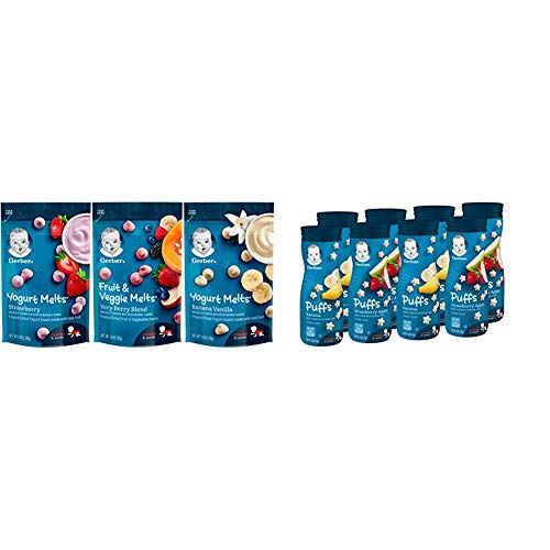 Gerber Up Age Yogurt Melts & Fruit & Veggie Melts Assorted Variety Pack, 8Count & Puffs Cereal Snack, Banana & Strawberry Apple, 8 Count