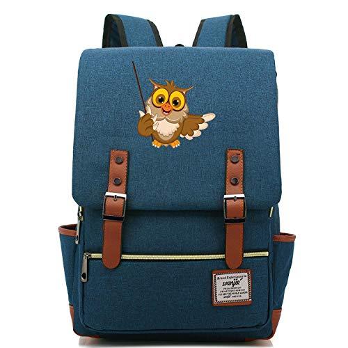 MMZ Teenage Unisex Casual Harry Potter Backpack Cute owl School Bag Notebook Bag Travel Backpack Large Navy