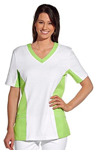 clinicfashion 12614040 Schlupfhemd weiß/hellgrün für Damen, Mischgewebe, Größe L