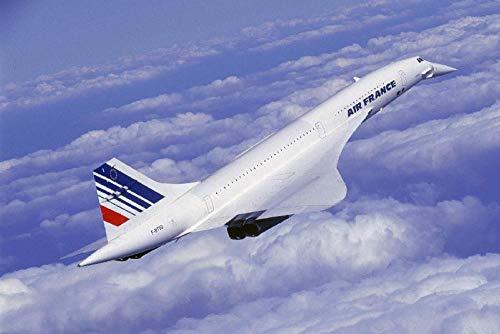 NoBrand Supersonisch vliegtuig, bedrukte stof, 50 x 75 cm, zonder lijst