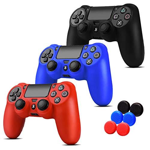 3 EN 1 PS4 Siliconas + 6 Grips Texturizados Colores Azul, Negro y Rojo. Fundas de Silicon para controles de PS4 Alomia - Fundas protectoras de silicon anti deslizantes, Cubiertas para control de PS4.