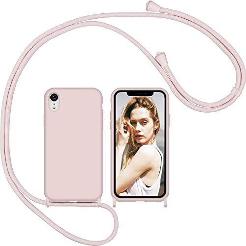 Nupcknn Funda Silicona con Cuerda para iPhone XR, Carcasa Suave Silicona Case con Correa Colgante Ajustable Collar Correa de Cuello Cadena Cordón(Oro Rosa)