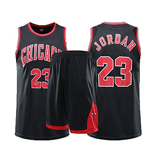 MSDL Michael Jordan Herren Basketball Jersey-Chicago Bulls 23# 2-teiliges Basketball Performance Tank Top und Shorts Set Basketball Trainingsanzug (XS-5XL)-Black-L(160.165CM)
