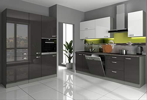 Küche Bianca IV 240+160 cm Küchenzeile in Hochglanz Grau Weiss Küchenblock Grey