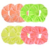 8 Pcs Neon Color Solid Velvet Scrunchies for Hair Girls' Elastic Hair ties