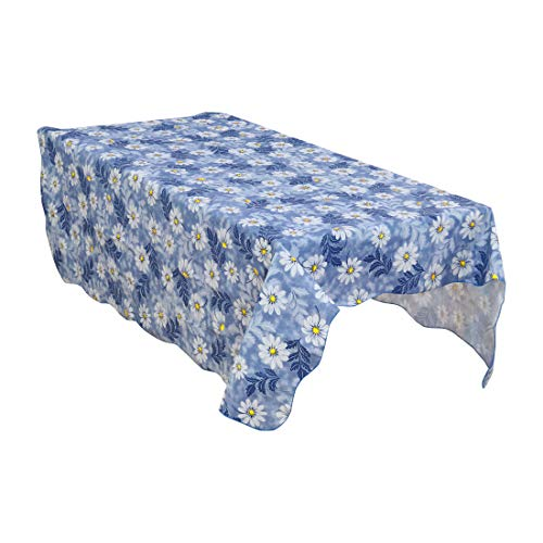 uxcell Home Picnics PVC Plastic Daisy Pattern Printing Water Oil Resistant Tablecloth Table Cloth Cover Blue Square 60' x 60'