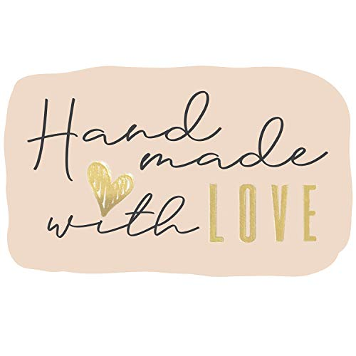 300 Hand Made with Love Stickers in Sheets | 2.25' x 3.25' Special Cut Size | Typical Shape Design with Gold Foil and Light Peach Background | Highly Recommended for Small Business Owners